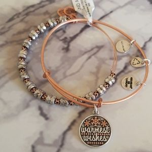 Rose gold Alex and Ani warmest wishes set of 2